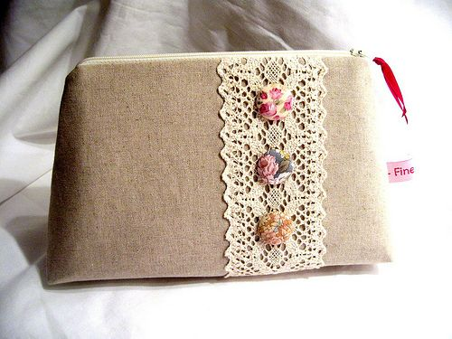 Linen pouch with lace | Flickr - Photo Sharing!