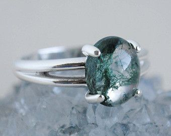Moss Agate Ring/ Moss Agate Band/ Landscape by EverblissDesigns