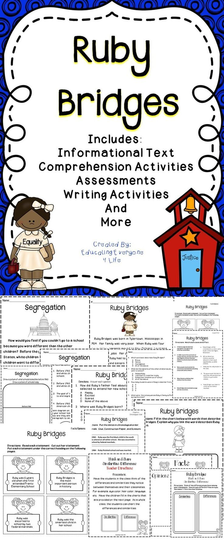 worksheet Ruby Bridges Worksheets For Second Grade 27 best ruby bridges images on pinterest teaching ideas black this resource includes supplemental activities for the classroom activity