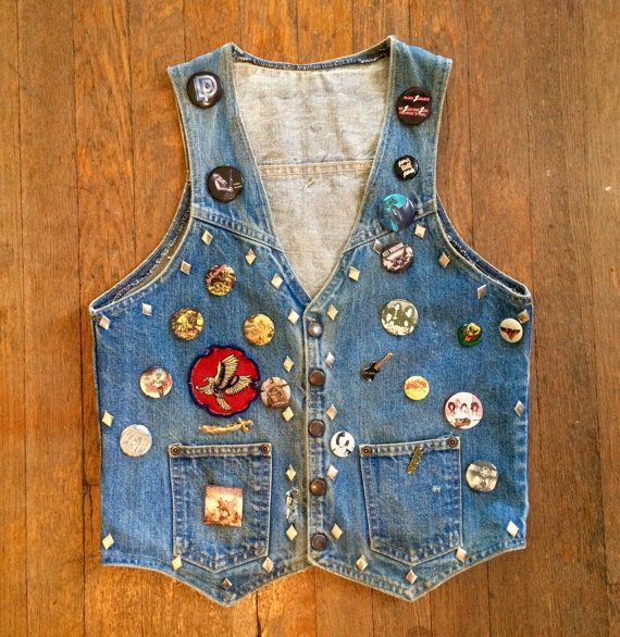 Vintage 1980s Custom Hand Painted Skull & Studded Denim VEST Size Small Metal Concert Iron Maiden