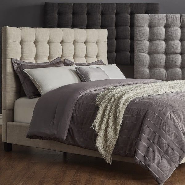 Briella Button Tufted Linen Upholstered Full Size Bed iNSPIRE Q Modern