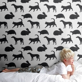 Animal Magic wallpaper Gray & Black