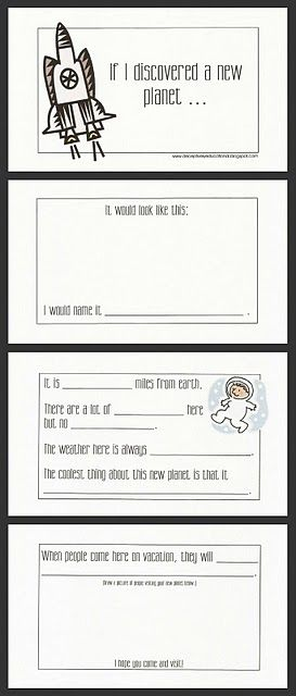 This format could be used as a prewrite assignment for English class. Students will then have to expand on this and write a persuasive paper to persuade others to visit their planet.