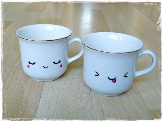 Kawaii vintage handpainted cups by Chunkylicious on Etsy