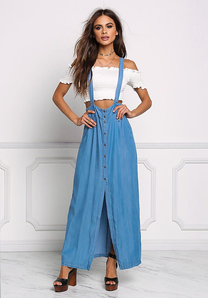 Denim Overalls Maxi Dress - Boutique Culture