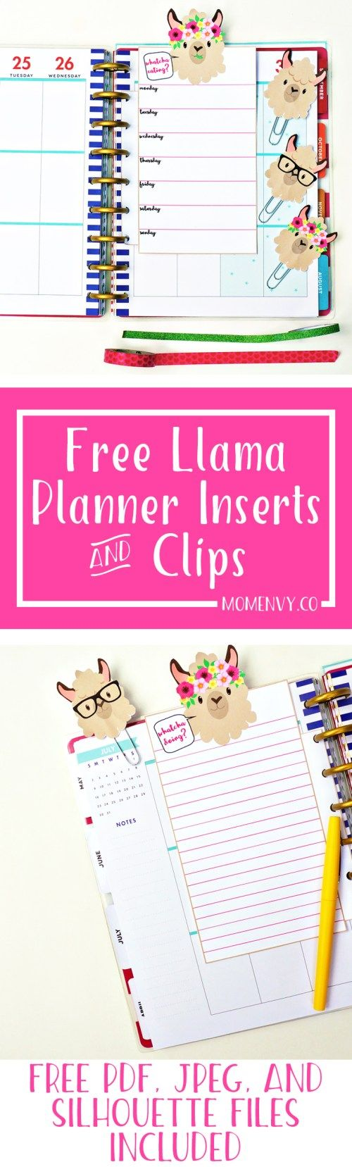 Llama Planner Inserts and Clips. Download free llama planner inserts and clips perfect for any size planner. Menu planner insert, lined paper, and more. #planning #planners #llamas