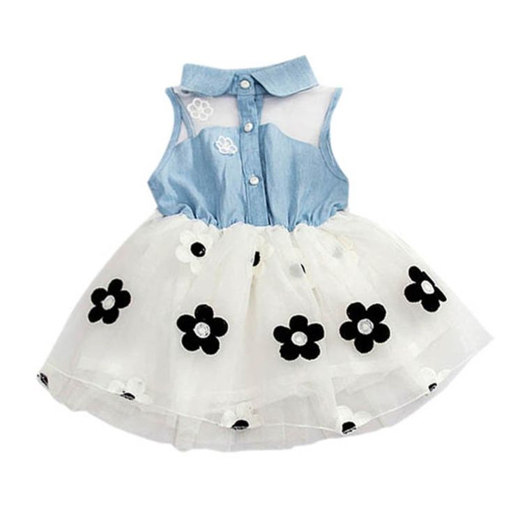 Summer Denim Flower Girls Baby Dress Tulle Knee-Length Sleeveless Pink/White Dresses