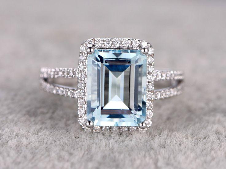 10x12mm big emerald cut aquamarine engagement ring 0 45ct