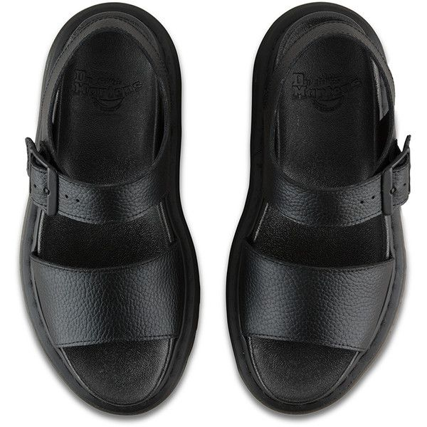 Dr. Martens Leather Romi Sandal Footwear ($95) ❤ liked on Polyvore featuring shoes, sandals, black, dr martens sandals, chunky platform sandals, dr martens shoes, platform sandals and leather platform sandals