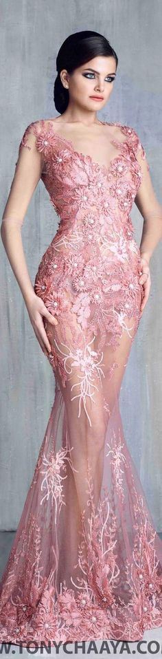Pink Spring Gown - Tony Chaaya