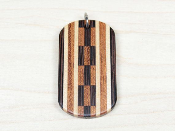 Mosaic Dog Tag, Wooden Dog Tag, Wood Dog Tag, Checkered dog tag, Orange Dog Tag, Mens Wood Necklace, Pendant for Men, Dogtag, Mens Necklace
