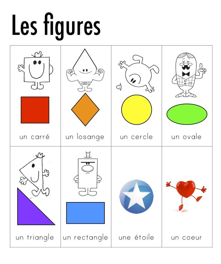 Shapes in French. Les formes (figures) 2D dictionnaire visuel.