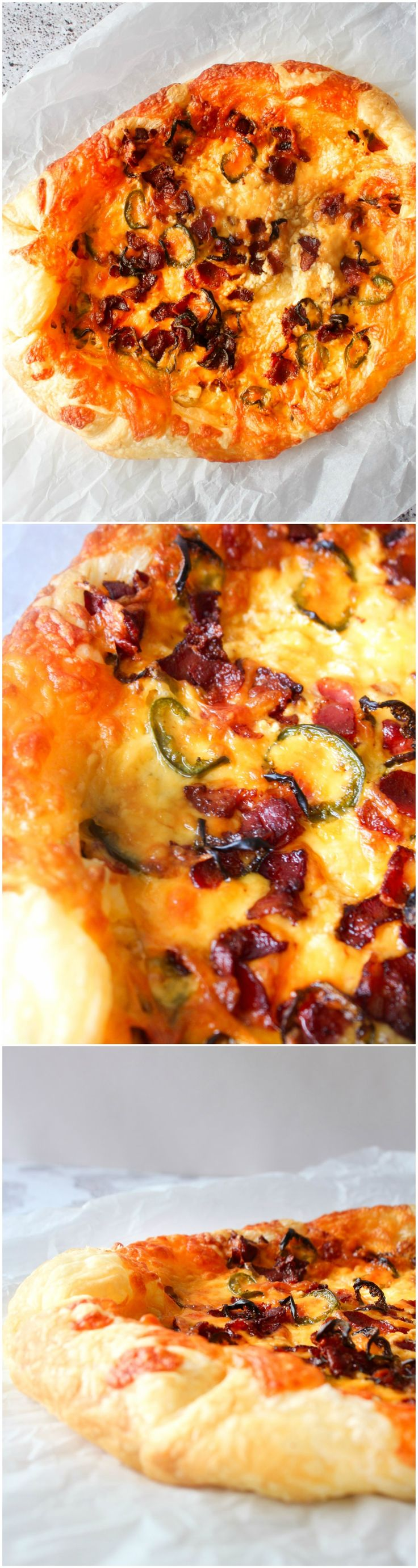Jalapeño Popper Galette - Puff Pastry - Pastry Snack, Cheese Snack - Bacon Recipe - Jalapeños - Puff Pastry Recipe - Cream Cheese  Wonderful puff pastry snack with a jalapeño popper filling!