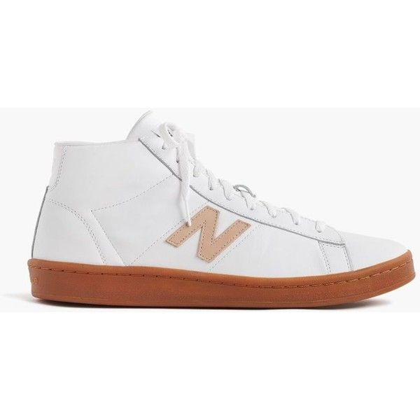 New Balance® for J.Crew 891 leather high-top sneakers in white ($85) ❤ liked on Polyvore featuring shoes, sneakers, leather high tops, high-top sneakers, leather shoes, j crew sneakers and white leather high tops