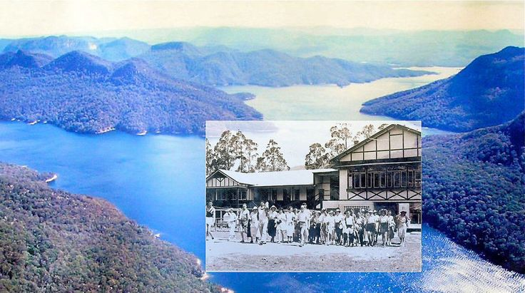 Burragorang House in the now submerged Burragorang Valley, southern Blue Mountains, NSW. This was the most popular guest house in the Valley from the early 1900s through to the 1950s, when all structures were demolished or removed, before the waters engulfed the Valley.