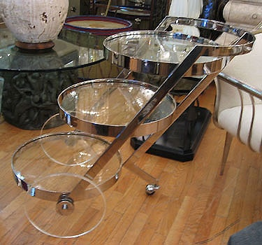 Vintage Italian Serving Trolley The Modern Three Tier Chrome Bar Cart From 60 S Features Gl Tops With Lucite Clear Plastic