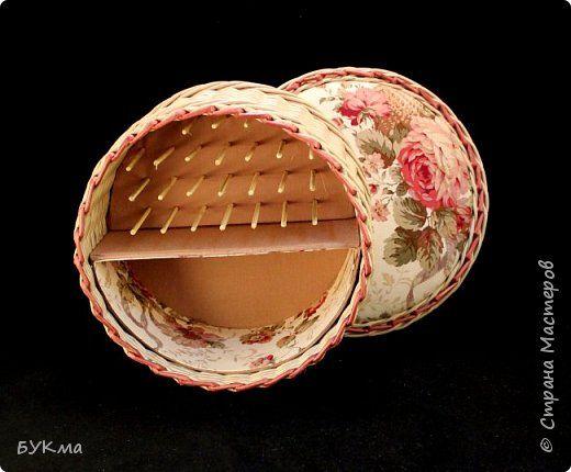 Поделка изделие Картонаж Плетение Комбинированные шатулки Картон Ткань Трубочки бумажные фото 2