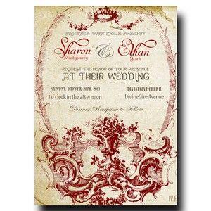 Vintage Wedding Invitation - Beige Paper Red ornament Invitation (23)