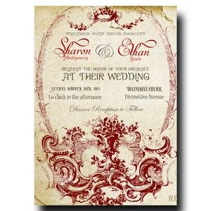 Vintage Wedding Invitation - Beige Paper Red ornament Invitation (23)