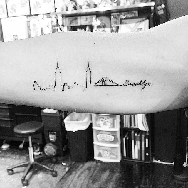 Brooklyn skyline tattoo on the right inner arm.... - Little Tattoos for Men and Women