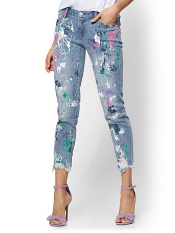 99d4d4cde46 Shop Soho Jeans - Destroyed Paint-Splattered Boyfriend Jean - Daylight Blue  Wash. Find your perfect size online at the best price at New York & Company.