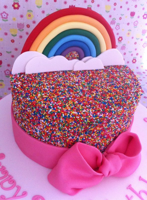 Rainbow hundreds and thousands cake