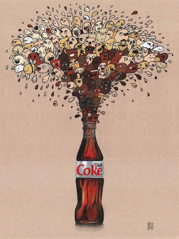 Diet Coke Doodle Print / Vexx_art