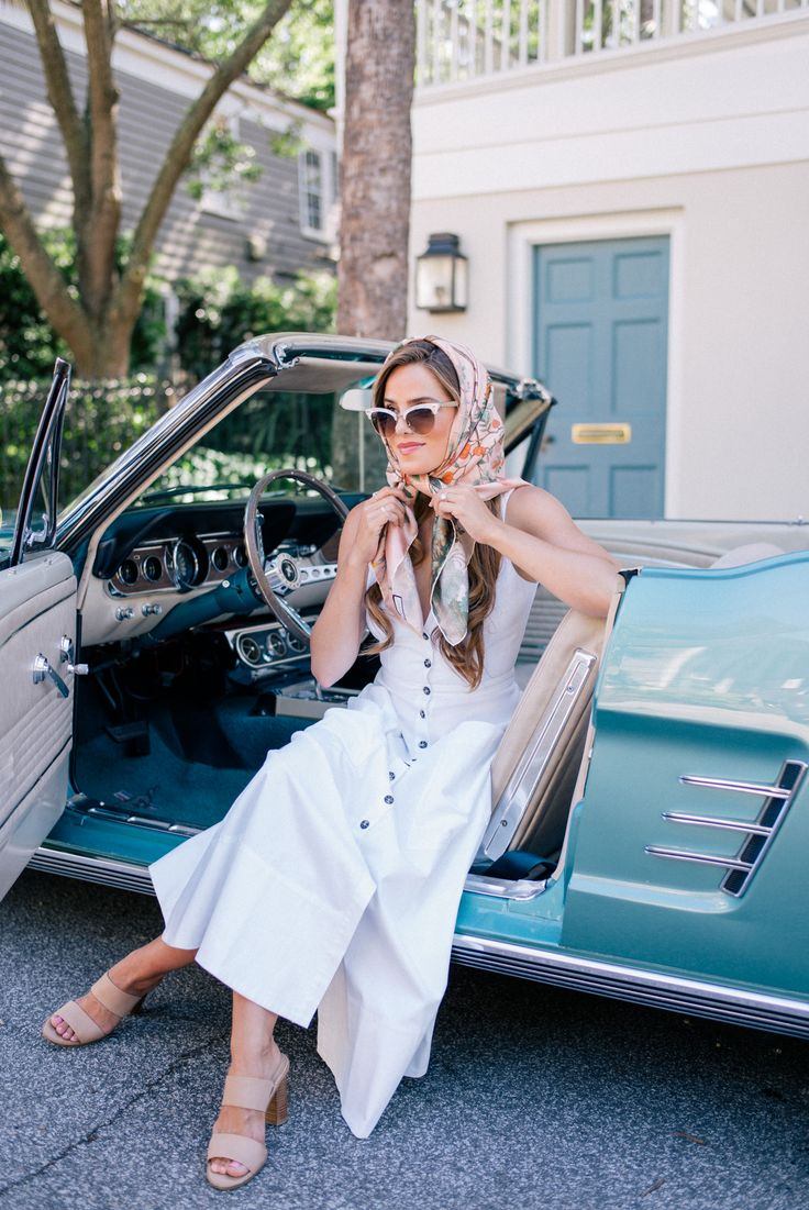 Gal Meets Glam Vintage Inspired -Saloni dress, Gucci sunglasses, Joie heels & Gucci scarf
