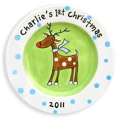Personalized Christmas Reindeer Plate (Blue) – ChristianGiftsPlace.com Online Store