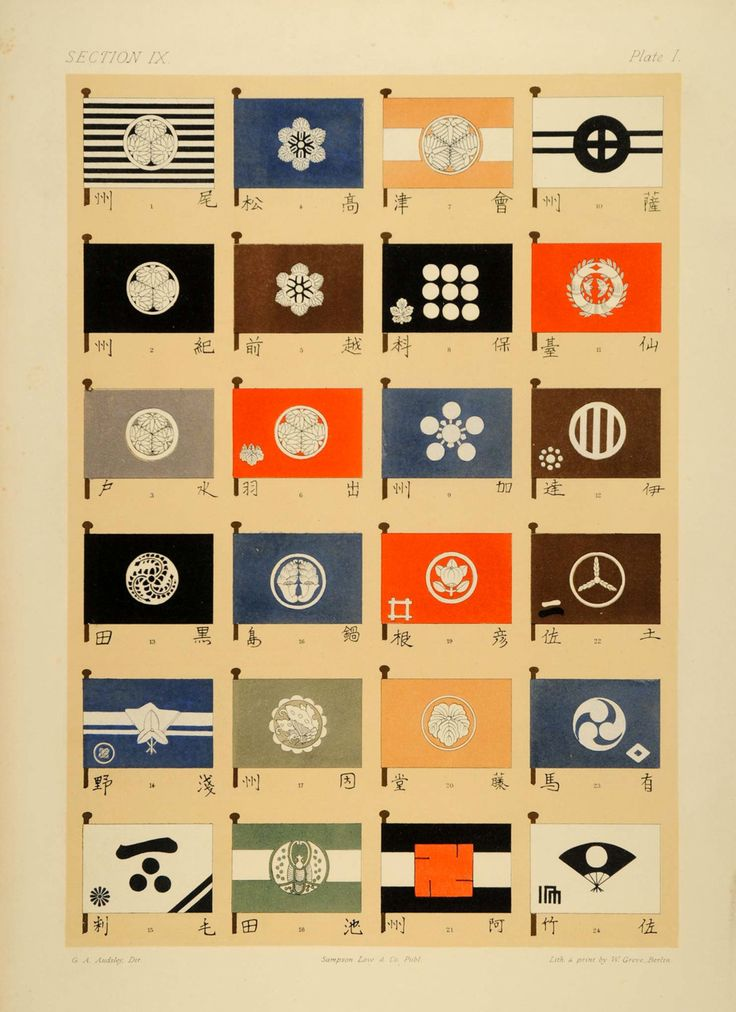 ::1883 Japanese Royal Family Crests Mon Chromolithographs ::