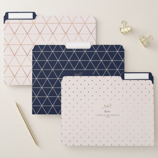 Blush Dark Blue Geometric Faux Rose Gold Custom File