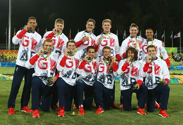 The Team GB rugby sevens boys just checking they've not been given chocolate coins as medals
