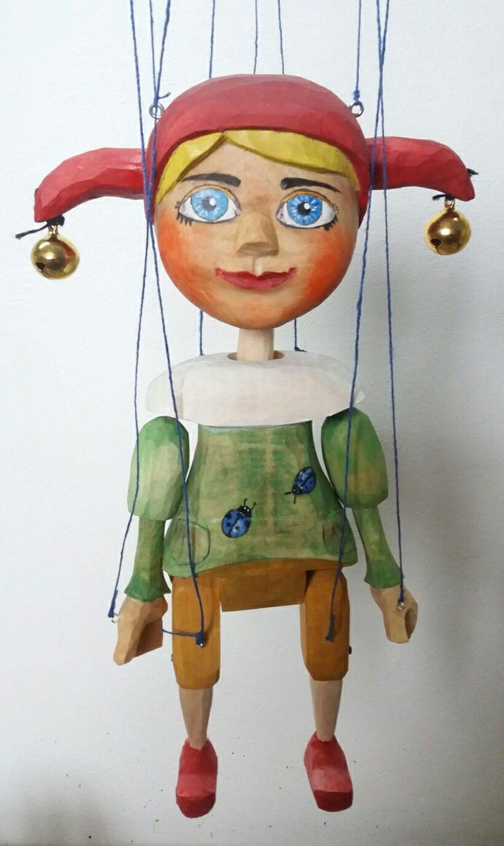 Jester,kašparek, marionette, loutka,puppet - carving, wood, was born 2018