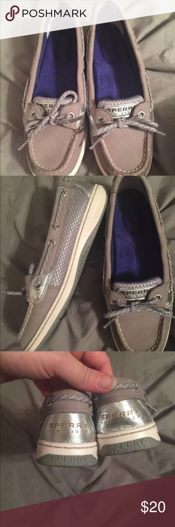 Sperry Angelfish 5.5 Worn once, like new sperry. Silver and shiny. Very small mark on top of one shoe (see pic). Not noticeable at all. Sperry Top-Sider Shoes Flats & Loafers