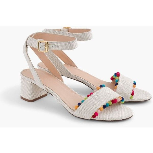J.Crew Lottie Sandals With Pom-Poms ($215) ❤ liked on Polyvore featuring shoes, sandals, pom pom sandals, colorful sandals, multi colored shoes, multicolor shoes and mid heel sandals