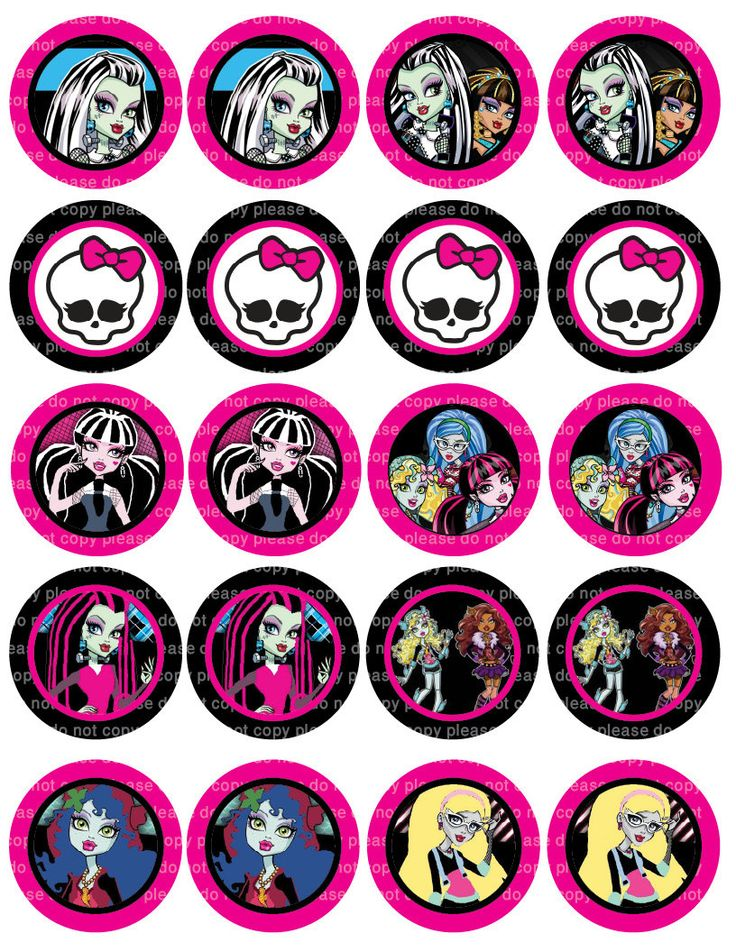 Monster High Stickers - Cupcake Toppers - 2 Inch Circles - Digital JPEG FILE. $2.50, via Etsy.