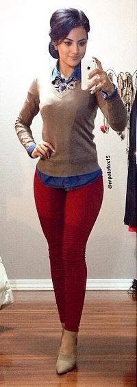 #mpalafox15 #workoutfit #officeoutfit #redskinnyjeans #nudesweater #falloutfit #winteroutfit