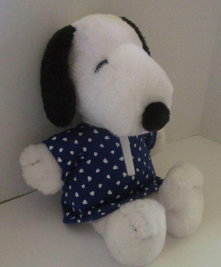 "Kohls Snoopy Plush Stuffed Peanuts Blue Sleeper Pajama Shirt 16"" Nice Condition #KohlsCaresforKids"