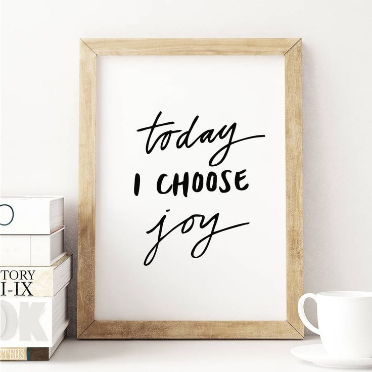 'Today I Choose Joy' Inspirational Typography Poster.A limited edition typographic fine art print, hand finished in our studio in Buckinghamshire using fade resistant pigment ink onto exquisite quality giclée museum archival paper.