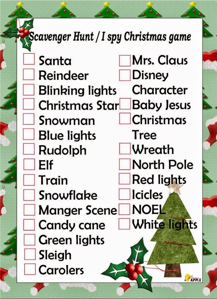 Fun And Festive Christmas Scavenger Hunt Printable