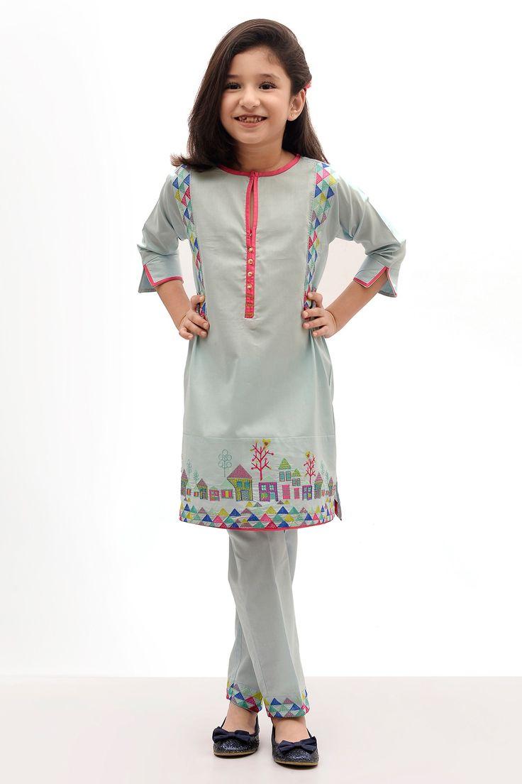 Khaadi – Embroidered Kurta with Pants - Kids