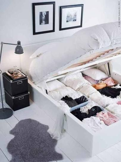 Small Studio Apartment Decorating Tips: Use a bed that can double as storage! barefootstyling.com