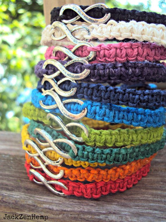 Infinity Bracelet Hemp Macrame, we could make these!!!