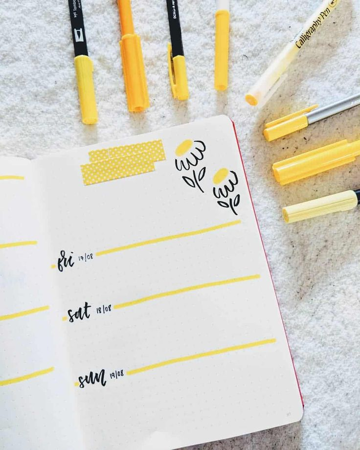 60 Amazing Yellow Bullet Journal Spread Ideas