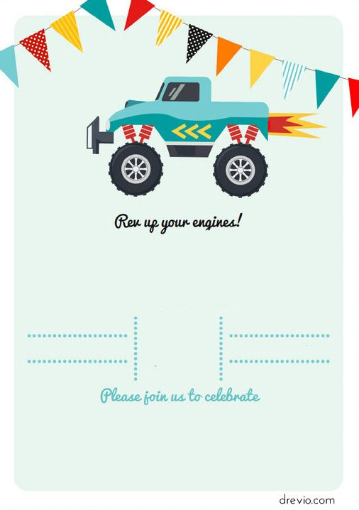 image about Monster Truck Birthday Invitations Free Printable titled Monster Vehicles Invitation Templates - Cost-free Printable cj