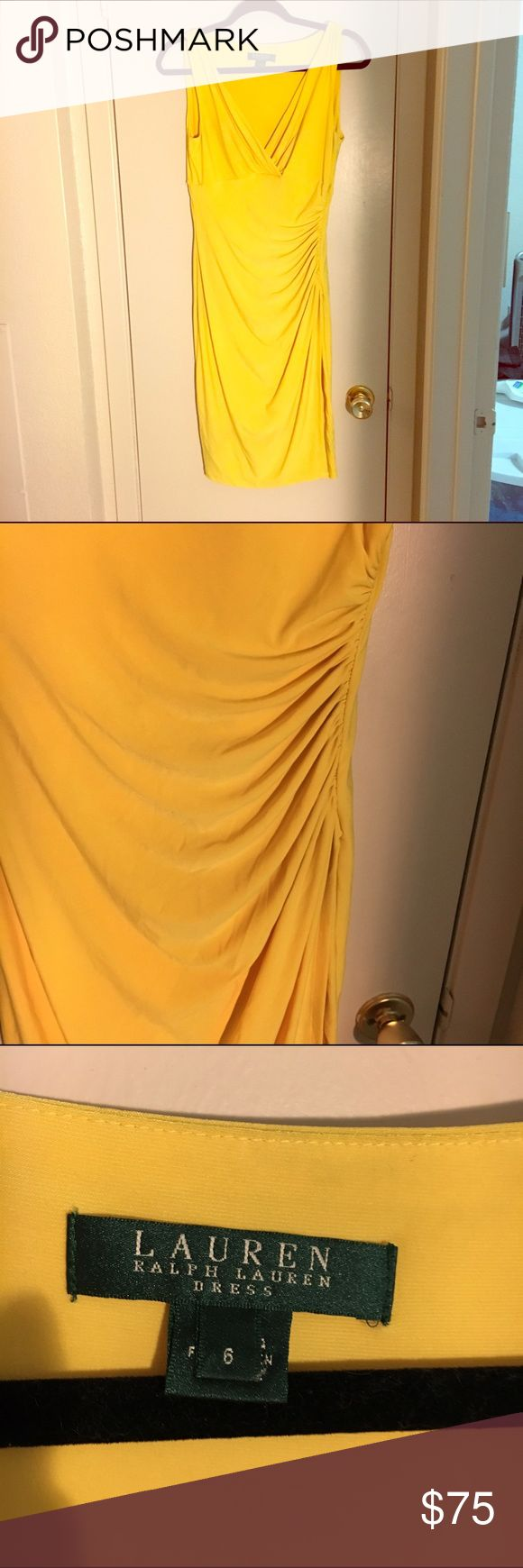 Lauren Ralph Lauren dress Sleeveless yellow cocktail dress by Lauren Ralph Lauren. Cinched on the side. Lauren Ralph Lauren Dresses