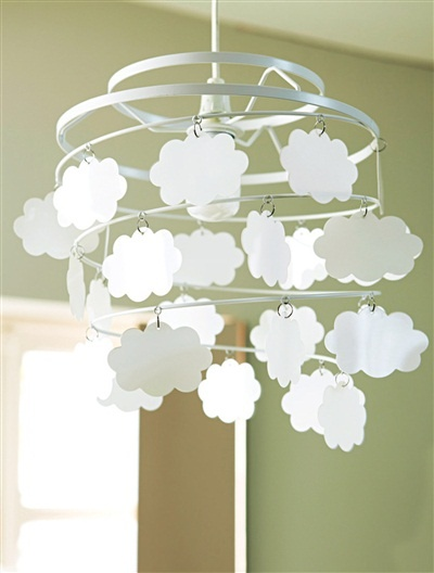 Abat-jour nuages chambre bébé pétales BLANC+BLEU - vertbaudet enfant