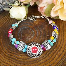 HOT Free shipping New Tibet silver multicolor jade turquoise bead bracelet S81