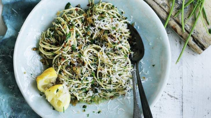 Neil Perry's spaghetti with garlic, breadcrumbs and olive oil can be on the table in less than 30 minutes.