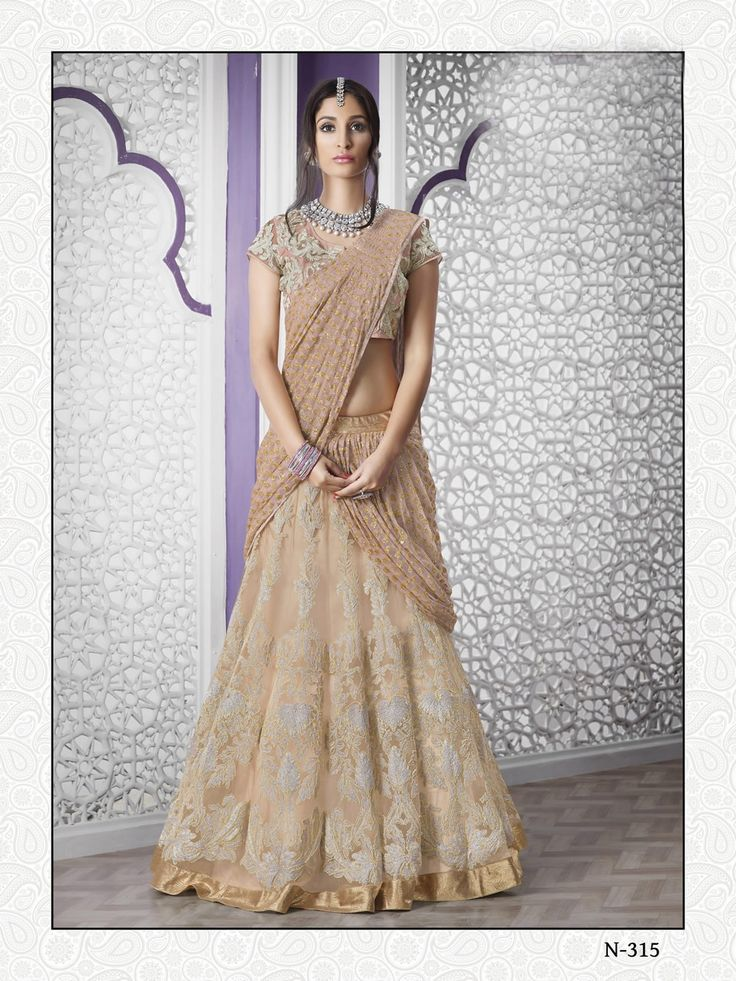 buy saree online Beige Colour Net Designer Wedding Wear Lehenga Choli Buy Saree online UK  - Buy Sarees online